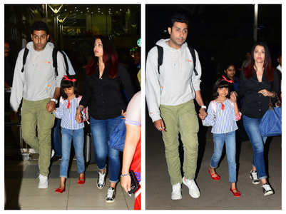 Pics: Ash, Abhishek return from Goa vacation