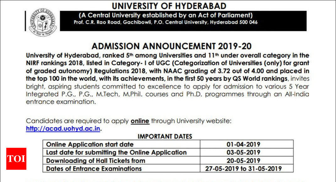Application process for University of Hyderabad admission entrance test to commence on April 1