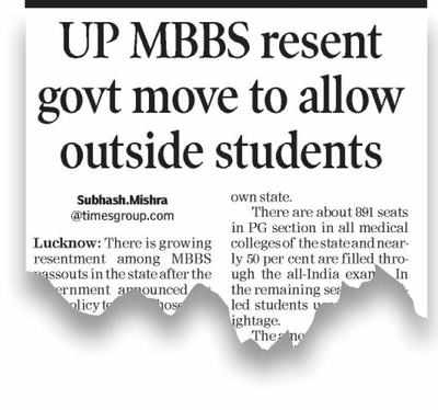 No PG admission to MBBS graduates from other states