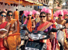 Ladies in the city set out on bikes to celebrate Gudi Padwa