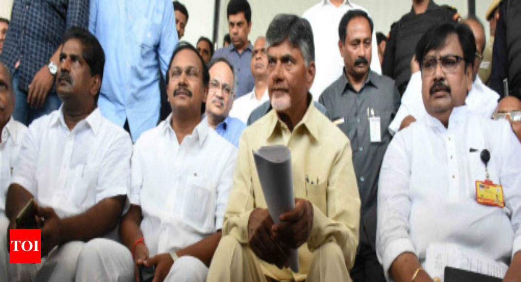 AP CM Chandrababu Naidu stages protest outside CEO's office, says EC actions 'tyrannical, undemocratic' - Times of India