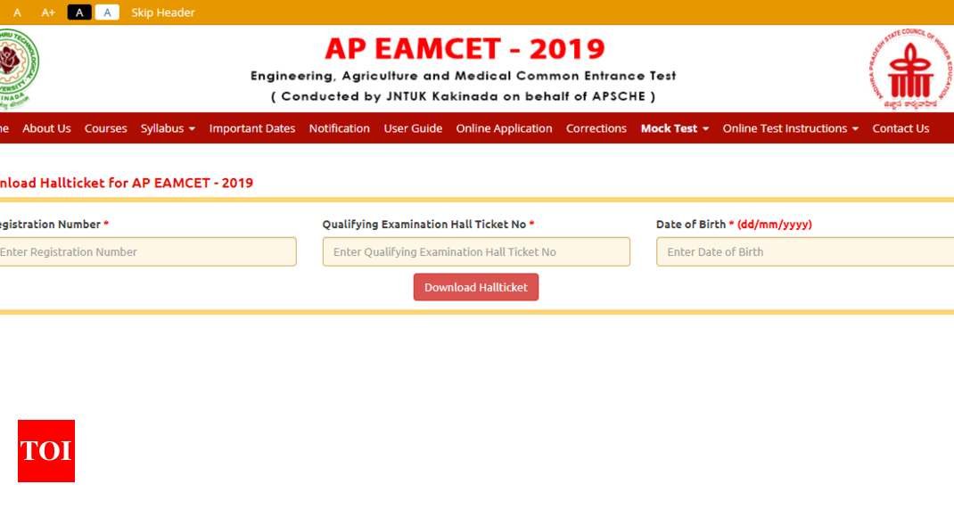 AP EAMCET 2019 admit card/hall ticket released @sche ap gov in