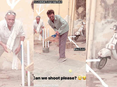 Irrfan plays cricket on sets of his next
