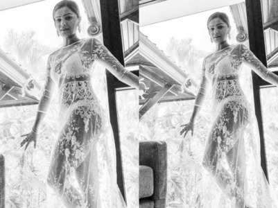 Rubina looks hot in translucent dress