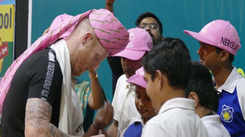 Ben Stokes' day out with Jaipur students