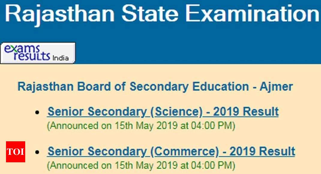 12th Result 2019 RBSE: BSER Rajasthan 12th Science