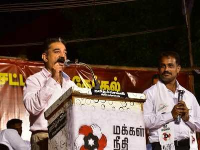 Slipper thrown at Kamal Haasan
