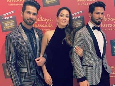 Mira Rajput poses with Shahid's wax statue