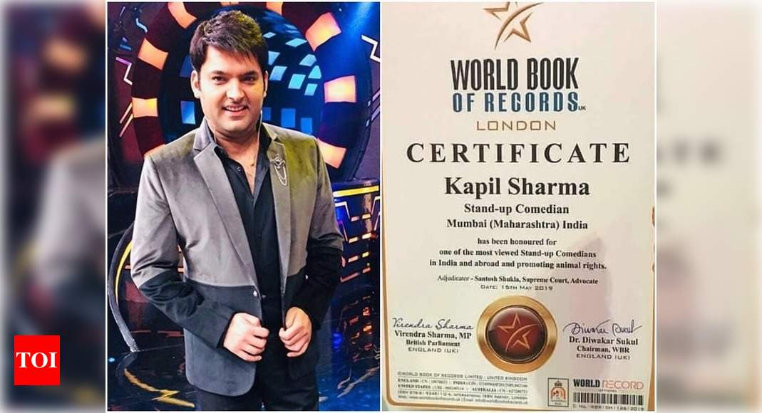 Kapil Sharma Gets Honoured By World Book Of Records London For Being One Of The Most Viewed Stand Up Comedians Times Of India
