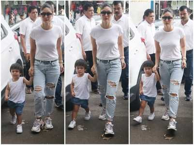 Kareena and Taimur twin in white and blue