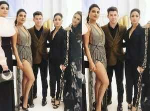 Hina poses with Priyanka-Nick at Cannes 2019