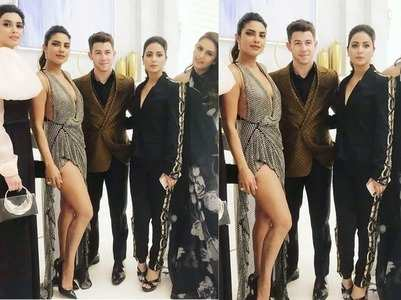 Hina poses with Priyanka-Nick at Cannes