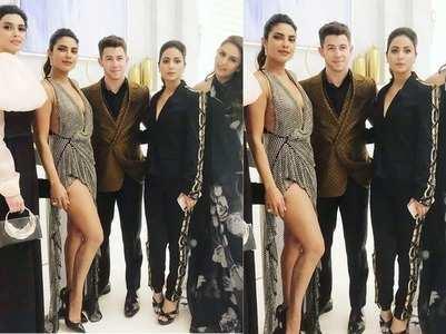 Hina poses with Priyanka-Nick at Cannes