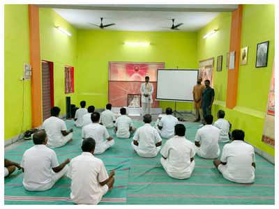 inmates of puzhal jail learn yoga asanas  chennai news