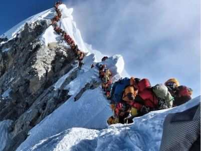 Traffic jam at Mount Everest! See the picture here