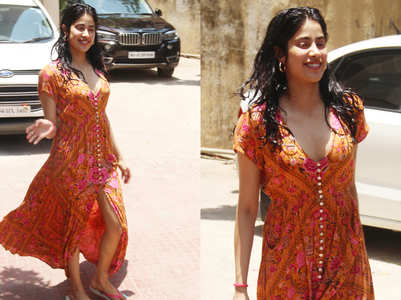 Janhvi Kapoor's post gym wet hair and yellow maxi look