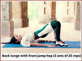 Back lunge with front jump hop