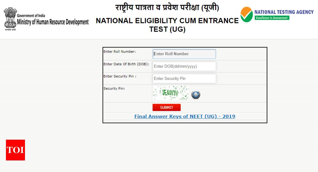 Neet result 2019: NEET UG 2019 result announced by NTA at ntaneet