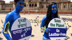 PETA members protest against the use of leather products in Jaipur