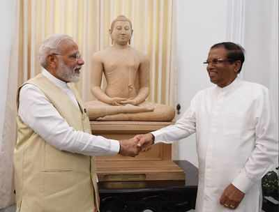 PM Modi gets Samadhi Buddha Statue as gift from Lankan President