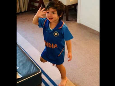 Photo: Taimur celebrates India's victory