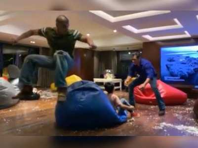 Salman enjoys bean bag jump with Yohan & Mohan