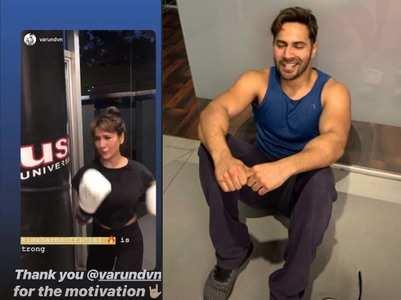 Varun & Kim Sharma's fun workout session