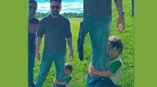 Cuteness alert! Taimur Ali Khan hangs on to father Saif Ali Khan's leg, enjoys play date with duckling