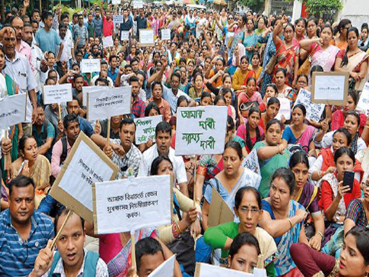 Over 40,000 contractual teachers protest education minister's 'driver' remark | Guwahati News - Times of India