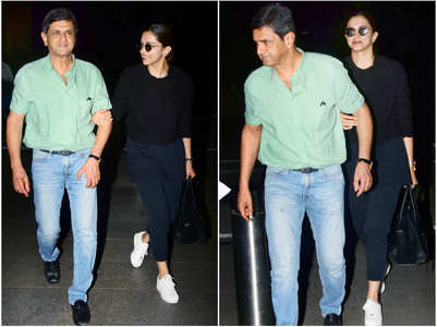 Deepika spotted at airport with her father