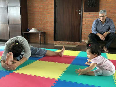 Pic: Inaaya learns yoga from her grandmother