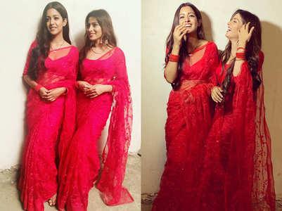 Ishita, Aparna twin in red saris; see pics