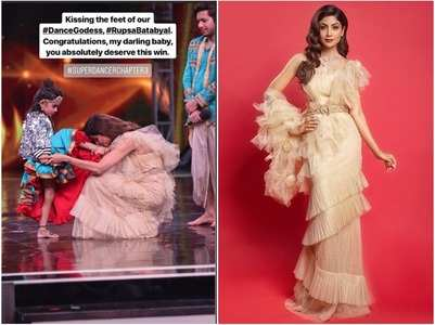 Shilpa Shetty kisses winner Rupsa's feet