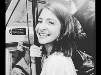 Anushka enjoys a train ride in Brussels