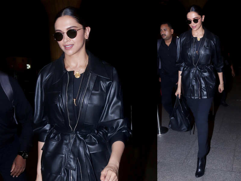 Deepika Padukone Just Showed Us How The Faux Leather Jacket Is Fabulous Times Of India