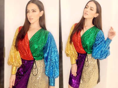 Sana Khan stuns in a rainbow hued shimmery short dress