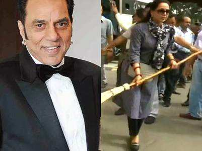 Dharmendra disapproves Hema Malini's broom act