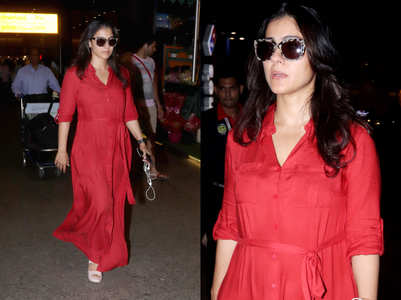 We love Kajol's cool and comfortable airport style