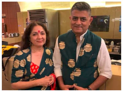 Neena Gupta strikes a pose with Gajraj Rao