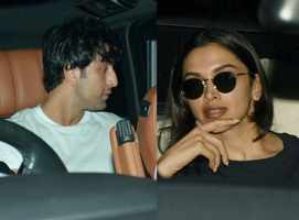 RK & Deepika snapped at Luv Ranjan's residence