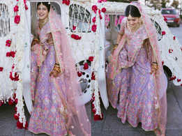 This bride wore a light purple lehenga for her day wedding