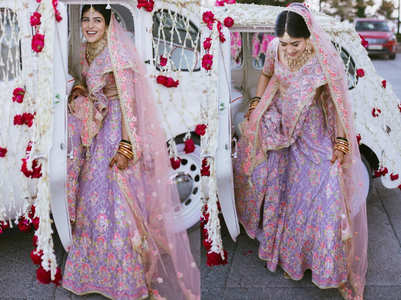 The bride wore a light purple lehenga for her wedding