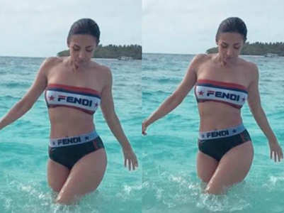 Malaika Arora shows off her bikini body in Maldives