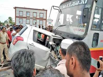 Bengaluru couple, two kids killed as car crashes into KSRTC
