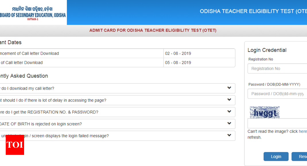 OTET Admit Card 2019 released @bseodisha.nic.in, here's direct link