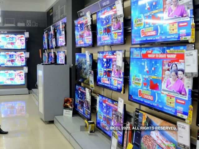 An array of televisions at a store