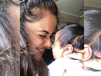 PIC: Sameera with her new born daughter