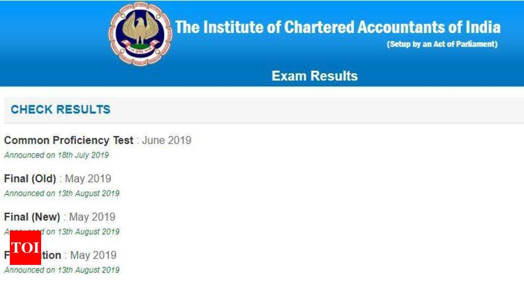 ICAI CA results 2019 released for Final and Foundation at caresults.icai.org, download here