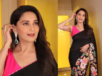 We loved Madhuri Dixit's pink and black sari!