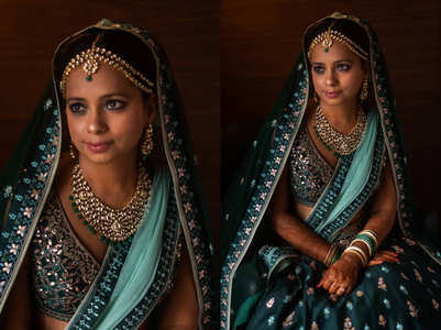 This bride wore a stunning green lehenga with minimal make-up for her wedding!